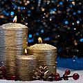 Three Gold Candles In Snow  by U Schade
