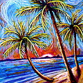 Three Palms On The Beach by Sebastian Pierre