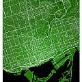 Toronto Street Map - Toronto Canada Road Map Art On Colored Back by Jurq Studio