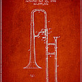 Trombone Patent From 1902 - Red by Aged Pixel