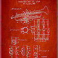 Trumpet Patent From 1939 - Red by Aged Pixel