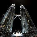 Twin Towers Petronas Kuala Lumpur Malaysia At Night by Dray Van Beeck