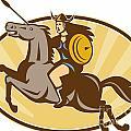 Valkyrie Riding Horse Retro by Aloysius Patrimonio
