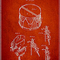 Vintage Snare Drum Patent Drawing From 1889 - Red by Aged Pixel