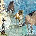 Wild Mustang Horses Outer Banks Lighthouses Nautical Chart Map Art by Cathy Peek