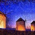 Windmills In Mykonos Island by George Atsametakis