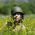 Woman With Military Helmet by Mats Silvan
