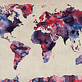World Map Watercolor by Michael Tompsett