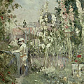 Young Boy In The Hollyhocks by Berthe Morisot