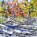 2014 19 Silver And Blue Stairs To Pink And Yellow Woods Srpsko Sarajevo by Alyse Radenovic