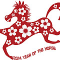 2014 Abstract Red Chinese Horse With Flower Illustration by Jit Lim