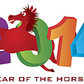 2014 Horse Leaping Over Numerals Isolated by Jit Lim