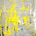 Imagination - Grey And Yellow Abstract Art Painting by CarolLynn Tice