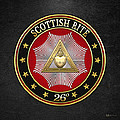 26th Degree - Prince Of Mercy Or Scottish Trinitarian Jewel On Black Leather by Serge Averbukh
