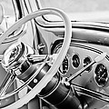 1933 Pontiac Steering Wheel -0463bw by Jill Reger