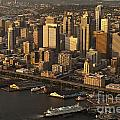 Aerial View Of Seattle Skyline Along Waterfront by Jim Corwin