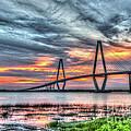 Arthur Ravenel Bridge Stormy Skies by Dale Powell