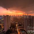 Bangkok City Skyline At Sunset by Fototrav Print