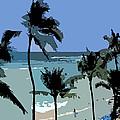 Blue Beach Umbrellas by Karen Nicholson