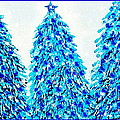 3 Blue Christmas Trees Alcohol Inks  by Danielle  Parent