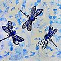 3 Blue Dragonflies Alcohol Ink by Danielle  Parent