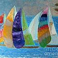 Boats At Sunset 1 by Vicky Tarcau