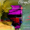 Chicago Illinois Map Watercolor by Marvin Blaine