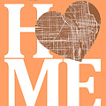 Chicago Street Map Home Heart - Chicago Illinois Road Map In A H by Jurq Studio