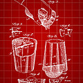 Cocktail Mixer And Strainer Patent 1902 - Red by Stephen Younts
