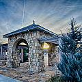 Cultured Stone Terrace Trellis Details Near Park In A City  by Alex Grichenko