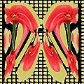 Dancing Tulip Red Exotic Flower Petal Based Wave Pattern  Created By Navinjoshi Reiki Healing Master by Navin Joshi