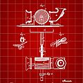 Edison Phonograph Patent 1878 - Red by Stephen Younts