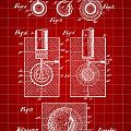 Golf Ball Patent 1902 - Red by Stephen Younts
