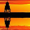 Groyne Lighthouse At Sunrise by David Pringle