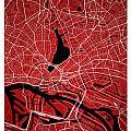 Hamburg Street Map - Hamburg Germany Road Map Art On Colored Bac by Jurq Studio