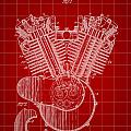 Harley Davidson Engine Patent 1919 - Red by Stephen Younts