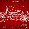 Harley Davidson Motorcycle Patent 1925 - Red by Stephen Younts