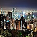 Hong Kong At Night by Songquan Deng