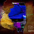 Illinois Map Watercolor by Marvin Blaine