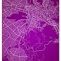 La Paz  Street Map - La Paz Bolivia Road Map Art On Colored Back by Jurq Studio