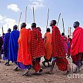 Maasai Men In Their Ritual Dance In Their Village In Tanzania by Michal Bednarek