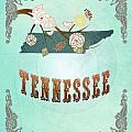Modern Vintage Tennessee State Map  by Joy House Studio