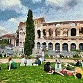 Outside Colosseum In Rome by George Atsametakis