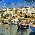 Panoramic Painting Of Mikrolimano Port by George Atsametakis
