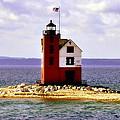 Round Island Lighthouse Straits Of Mackinac Michigan by Marysue Ryan