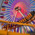 Santa Monica Pier Ferris Wheel And Roller Coaster At Dusk by Scott Campbell