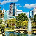 Skyline Of A Modern City - Charlotte North Carolina Usa by Alex Grichenko