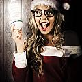 Smart Female Santa Claus With Christmas Idea by Jorgo Photography - Wall Art Gallery