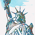 Statue Liberty - Pop Stylised Art Poster by Kim Wang