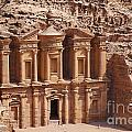 The Monastery At Petra In Jordan by Robert Preston